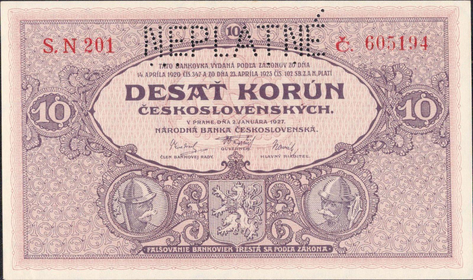 10Kč/1927/, stav 0 s.l. perf. NEPLATNÉ, série N 201