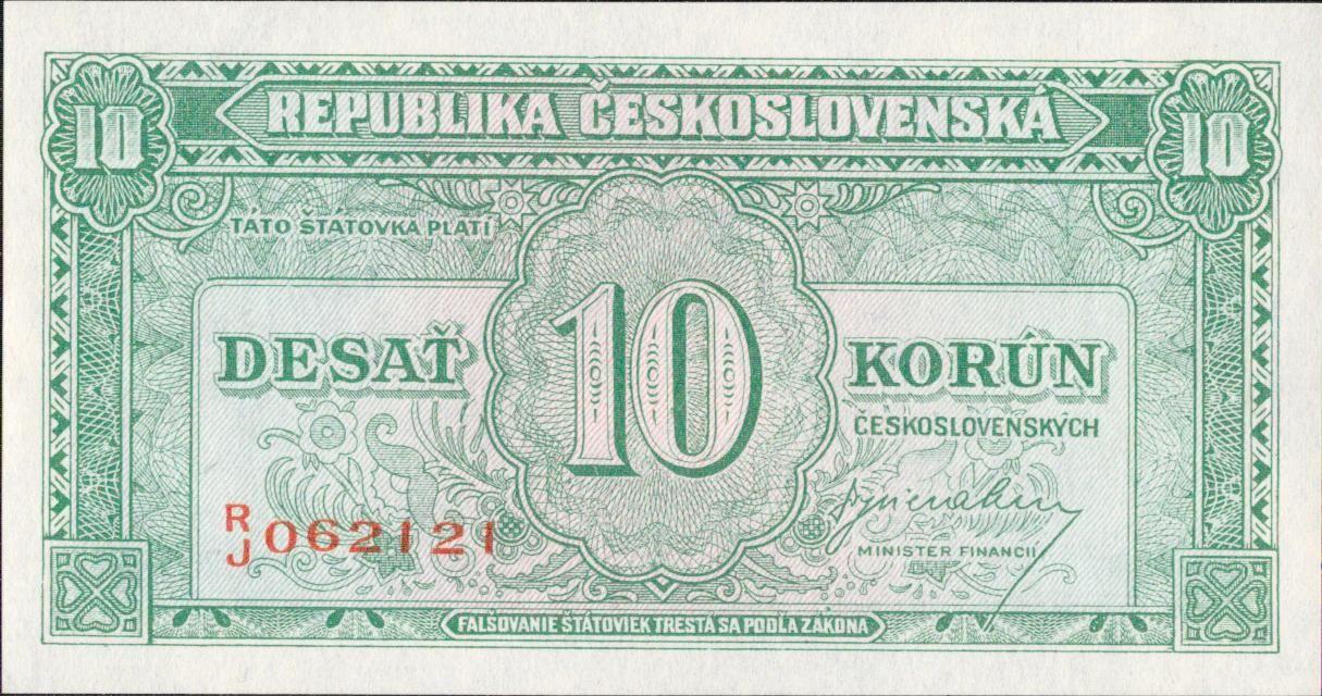 10Kčs/1945-bl/, stav UNC, série RJ
