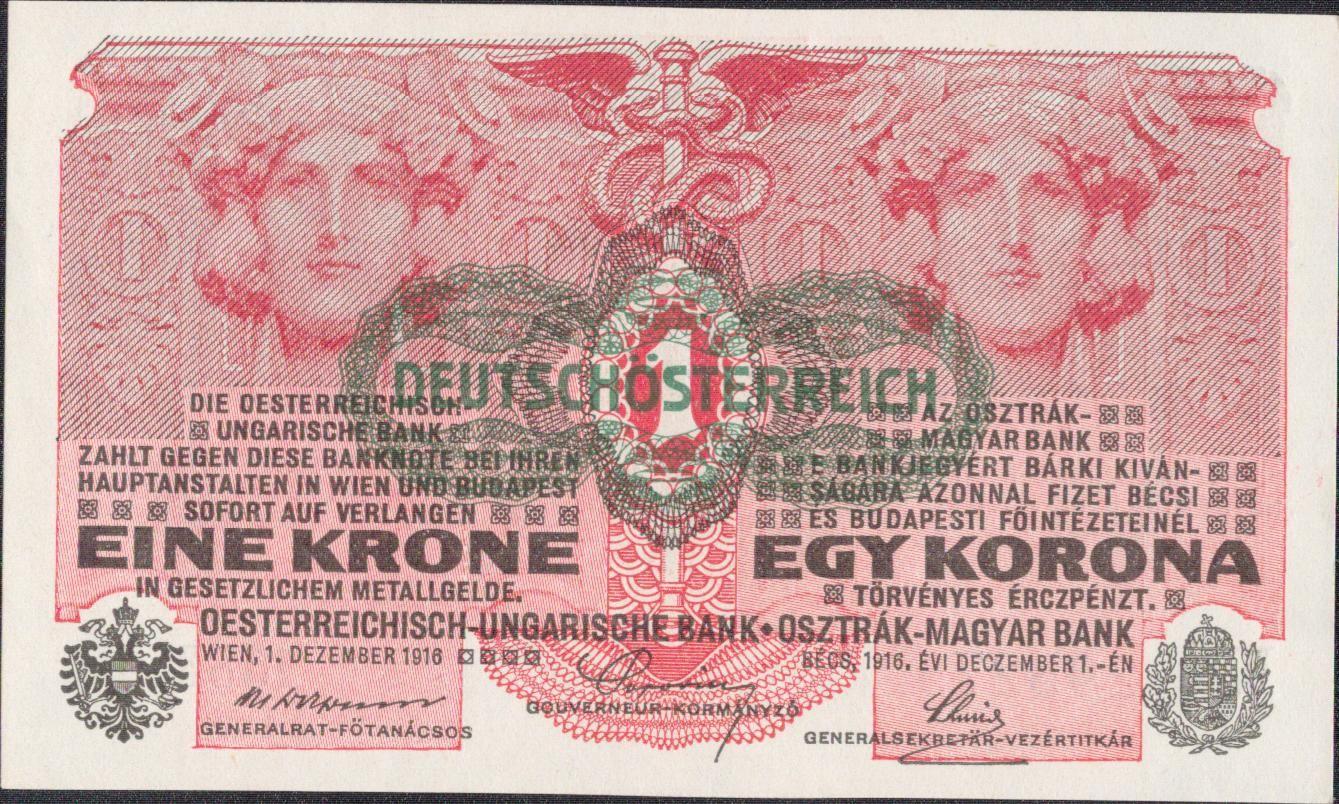 1K/1916/, stav UNC/0, přetisk DEUTSCHÖ