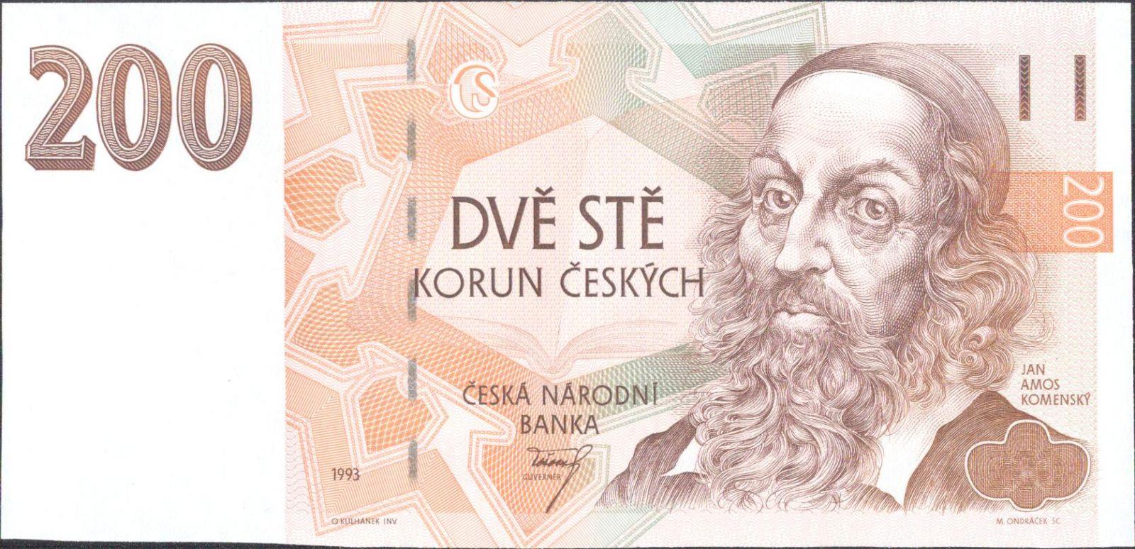 200Kč/1993/, stav UNC, série A 52, proužek Kčs