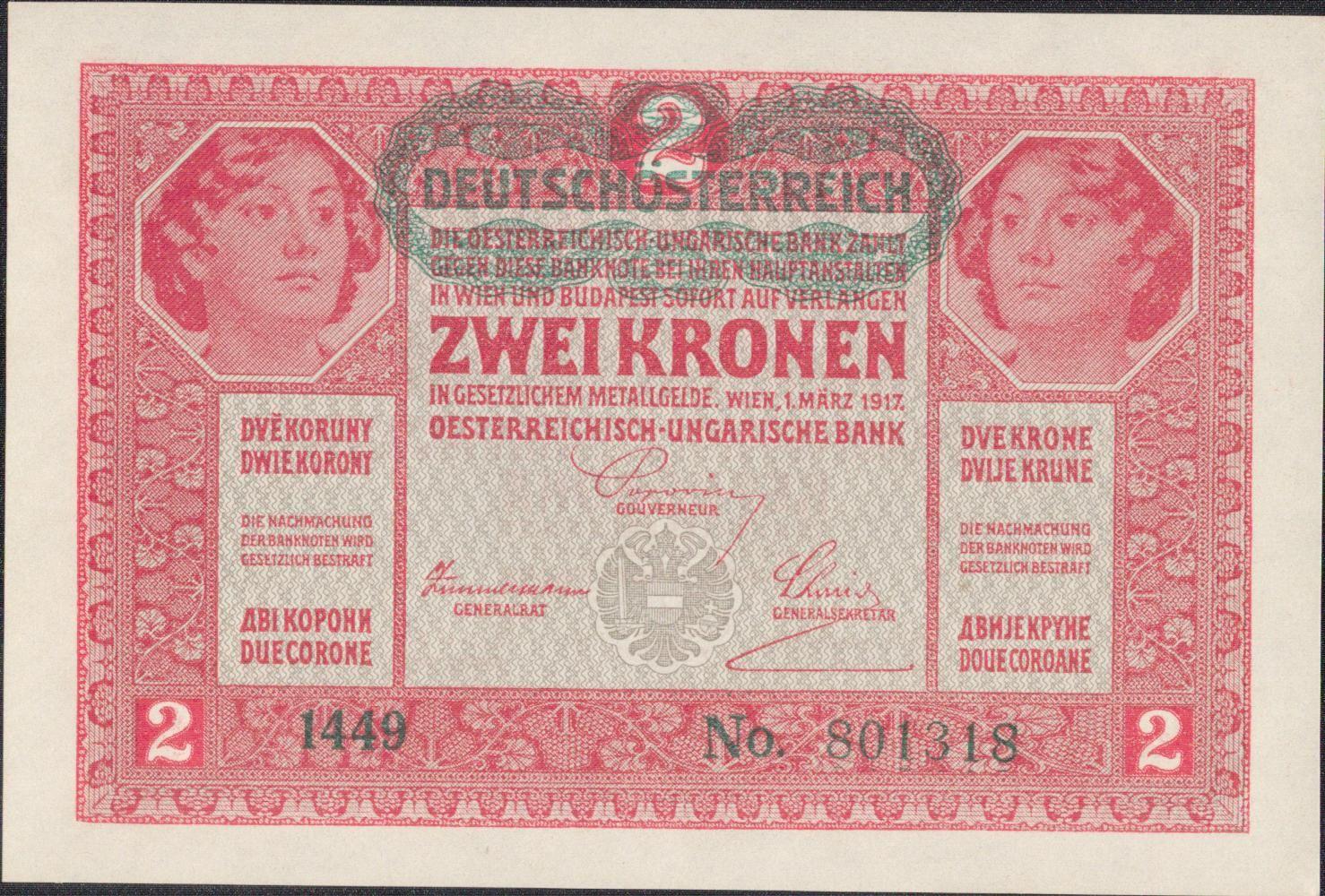 2K/1917/, stav UNC/0, přetisk DEUTSCHÖSTERREICH
