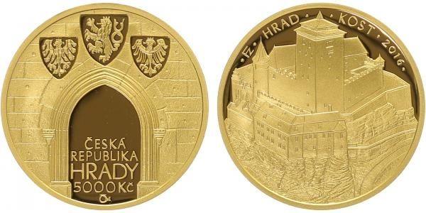 5000 Kč(2016-Hrad Kost), stav PROOF, etue, certifikát