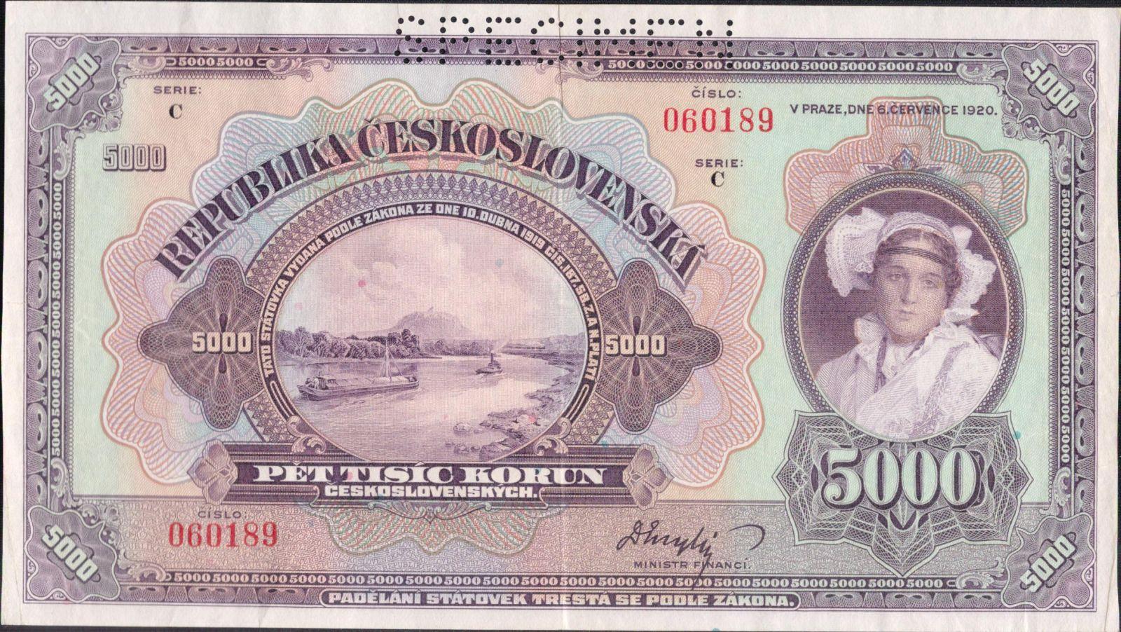 5000Kč/1920/, stav 1+ perf. SPECIMEN, série C