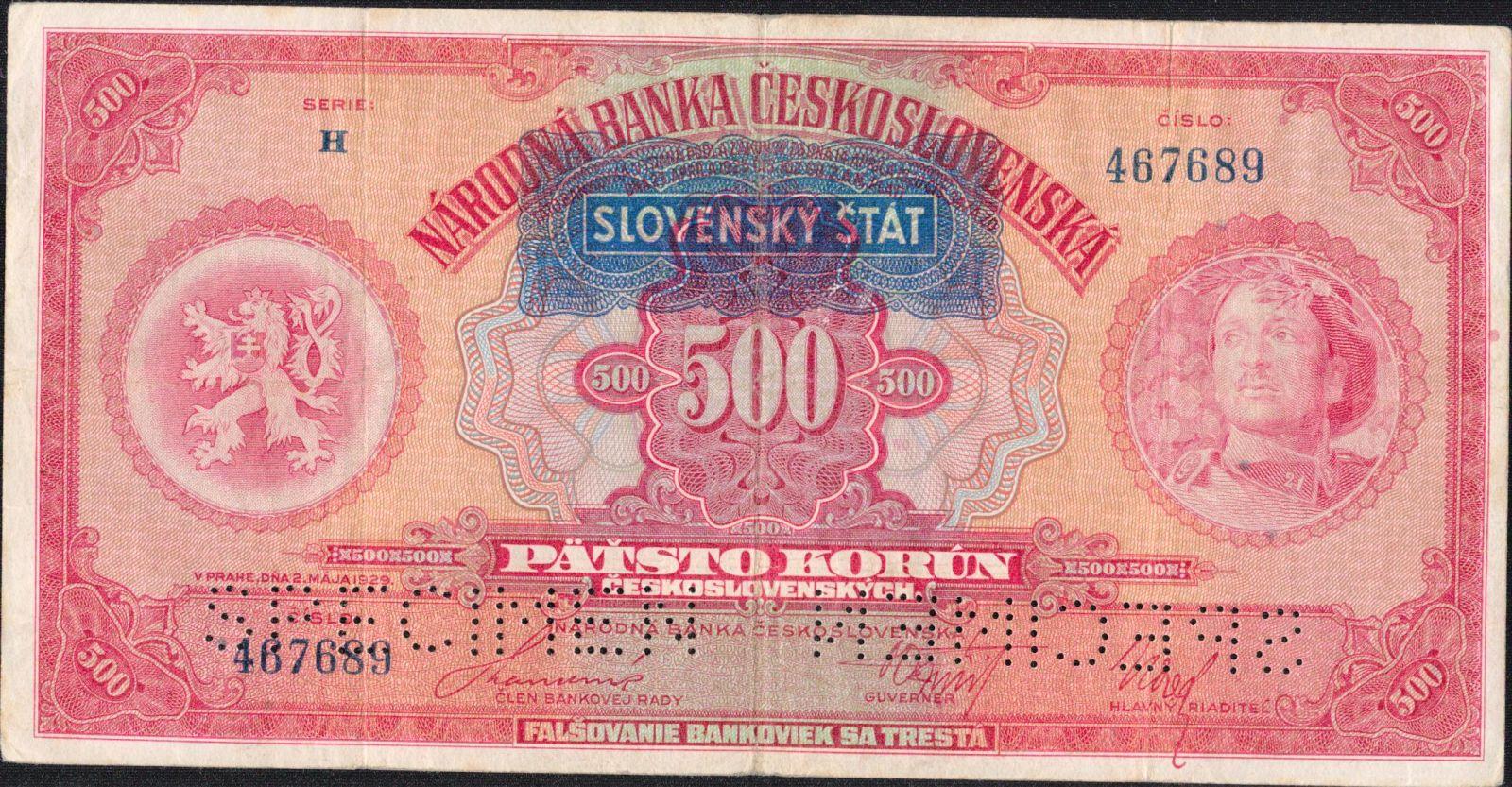500Ks/1929-39, přetisk Slovenský Štát/, stav 3 perf. 2x SPECIMEN dole, série H