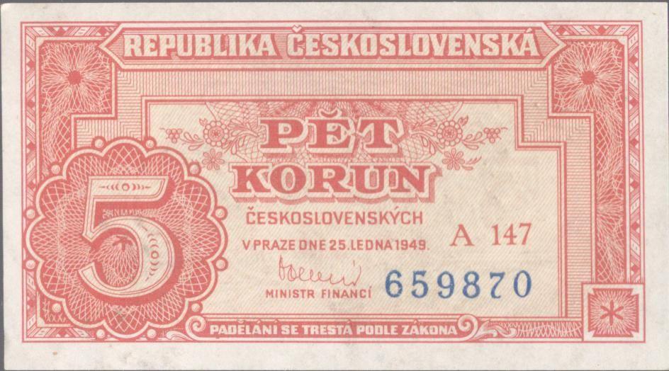 5Kčs/1949/, stav 0, série A 147