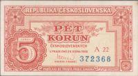 5Kčs/1949/, stav 0, série A 22