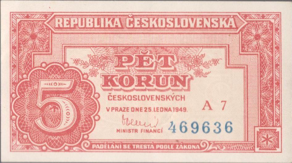 5Kčs/1949/, stav 0, série A 7