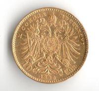 10 Korun(1896-Au 900-3,4g-ražba bz), stav 1+/1+, vzácný ročník