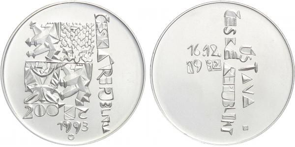200 Kč(1993-Ústava), stav 0/0, kapsle, certifikát