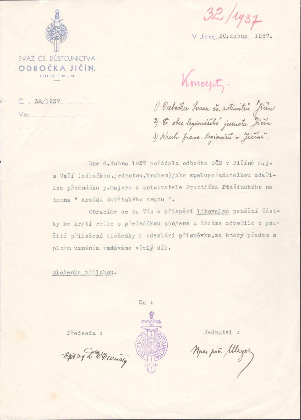 ČSR - Svaz československého důstojnictva 1937