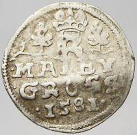 Malý groš, Rudolf II.(1581-České Budějovice - Schönfeld), zvlněn