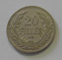 20 Fillér 1907 KB, pěkný