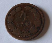 Rakousko 4 Krejcar 1861 A