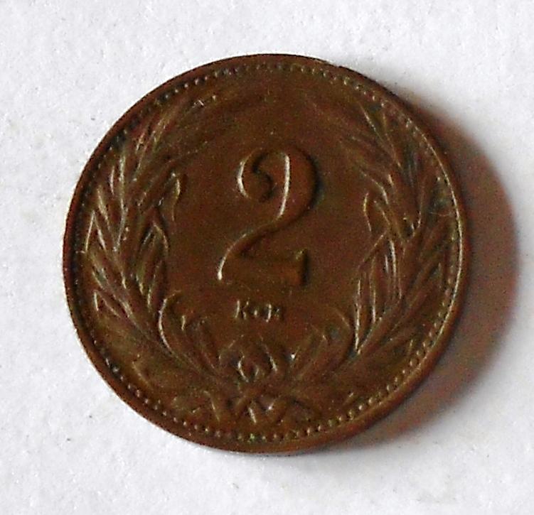 Uhry 2 Fillér 1909 KB, pěkný