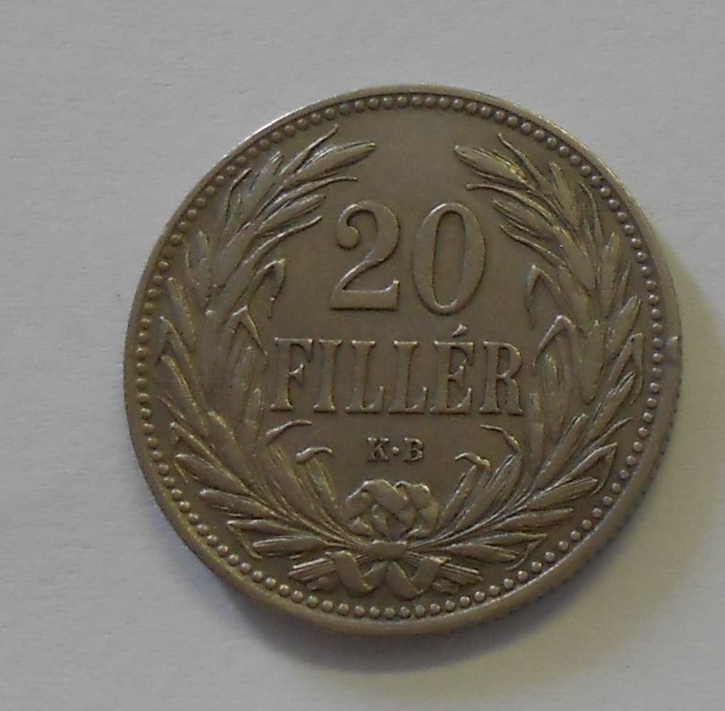 Uhry 20 Fillér 1908 KB, pěkný