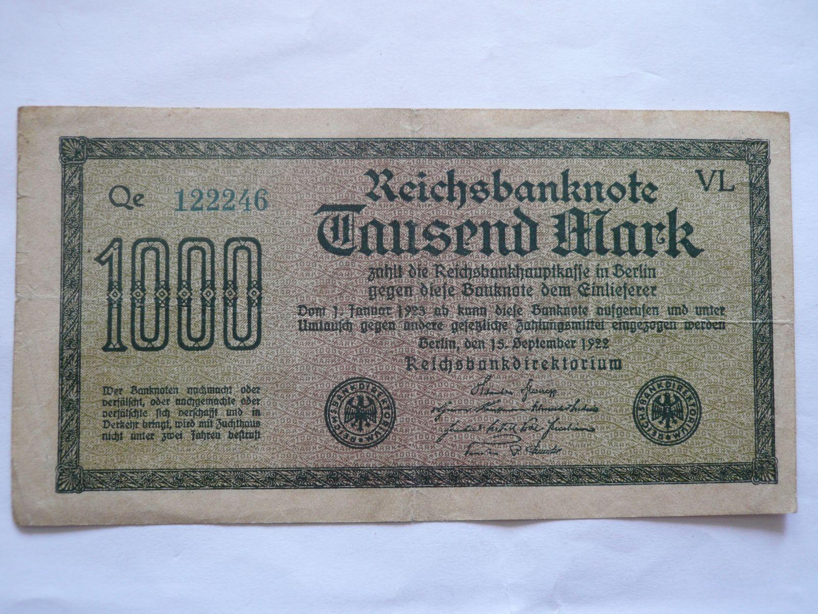 1000 Marek, 1922, Německo