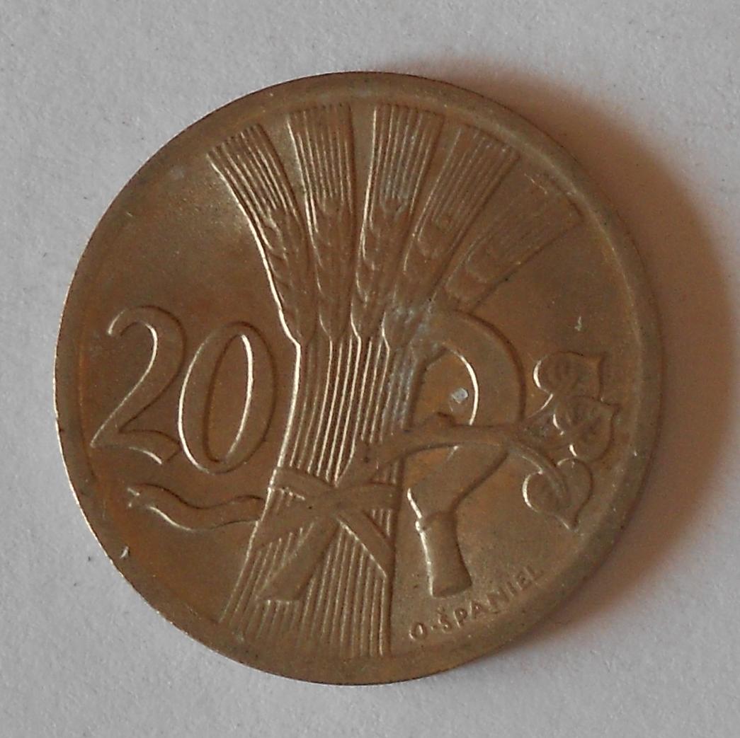 ČSR 20 Haléř 1938, pěkný