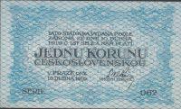 1 Kč/1919/, stav UNC, série 062, modrá