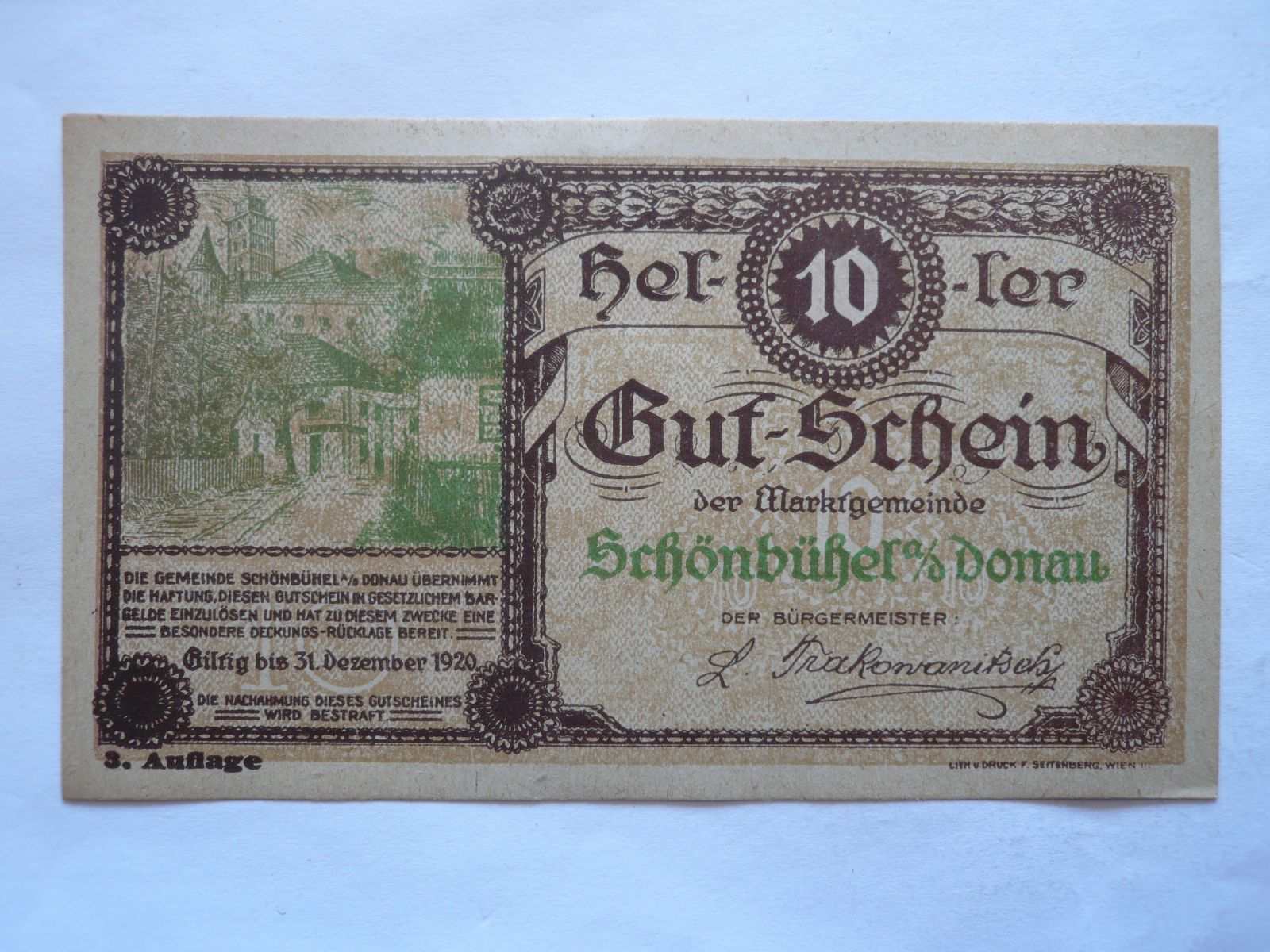 10 Heller, nouzovka, 1920 Rakousko