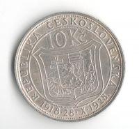 10 Kč(1928-Ag 0,700-10g), stav 1-/1- dr.hr.