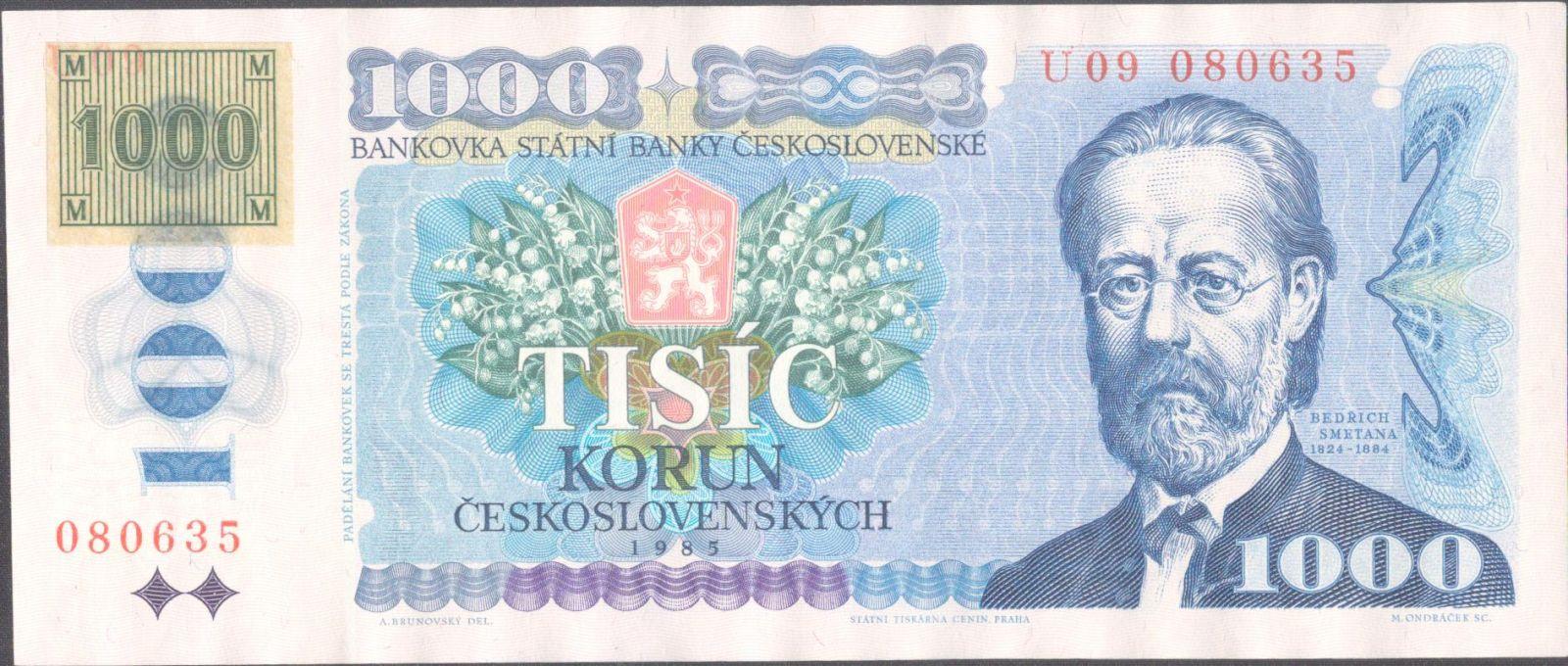 1000Kč/1985-93/, stav UNC, lepený kolek ČR, série U 09