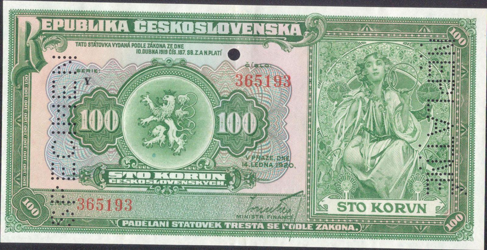 100Kč/1920/, stav 1-2 perf. SPECIMEN, NEPLATNÉ a otvor 4,5 mm, série Y