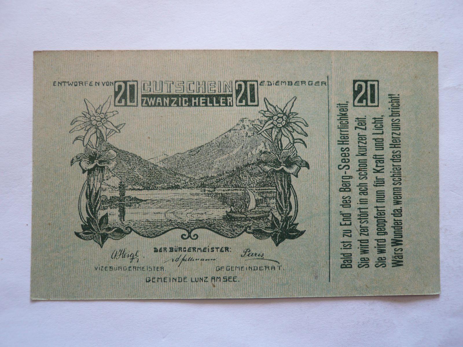 20 Heller, nouzovka, 1920, Rakousko