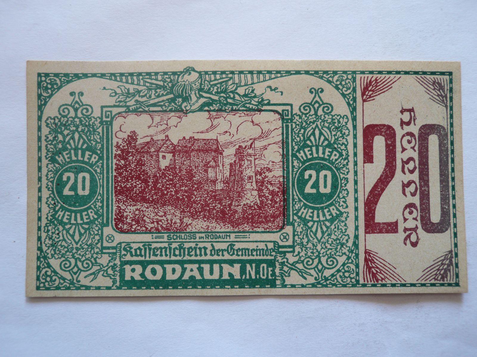 20 Heller, nouzovka, 1920, (Rodaun), Rakousko