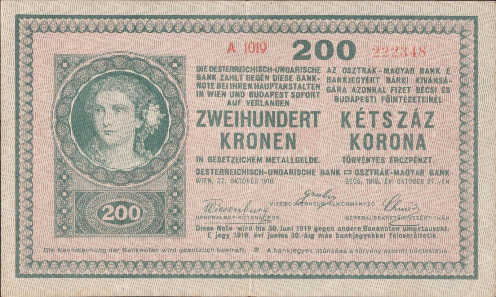 200K/1918/, stav 1-, série A 1019 (platná v ČSR)