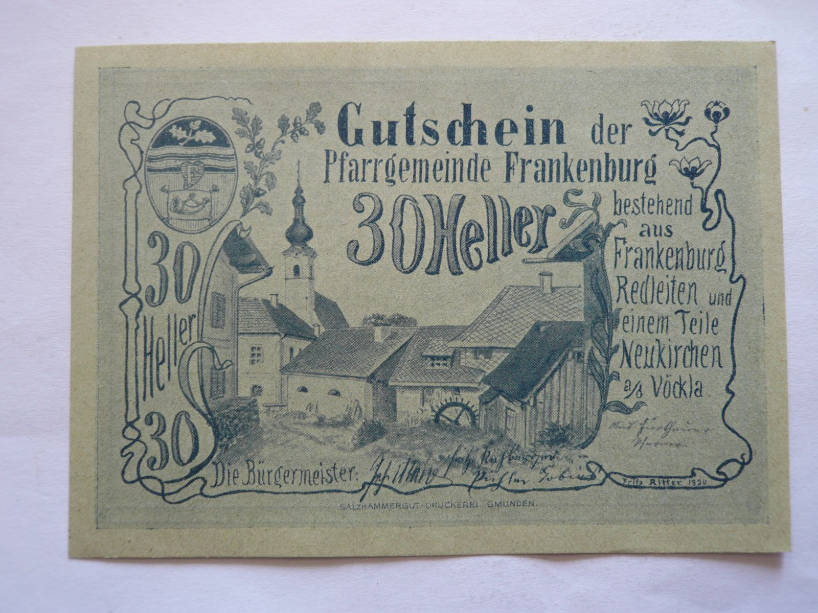 30 Heller, Frankenburg, Rakousko