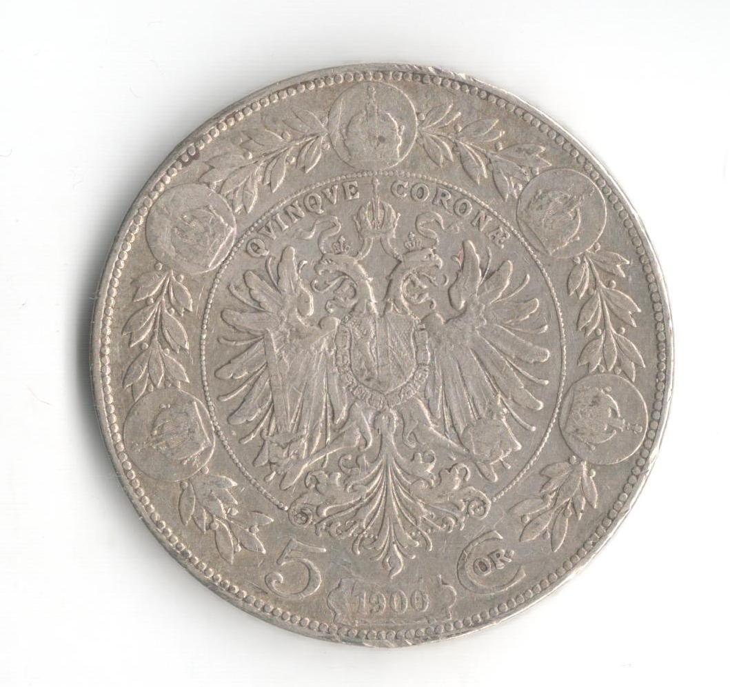 5 Korun(1900-ražba bz), stav 1-/1- hr., patina