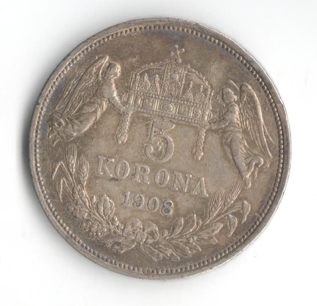 5 Korun(1908-ražba KB), stav 1/1+ hr., patina