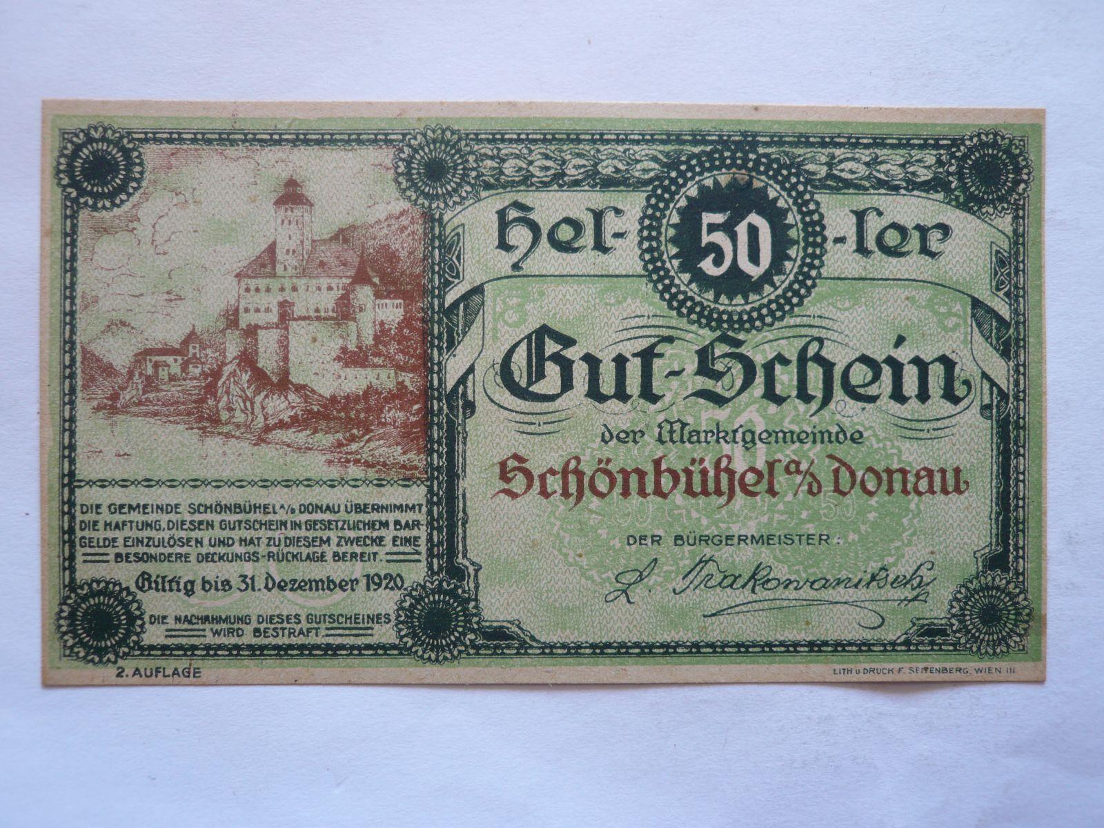 50 Heller, nouzovka, 1920 Rakousko