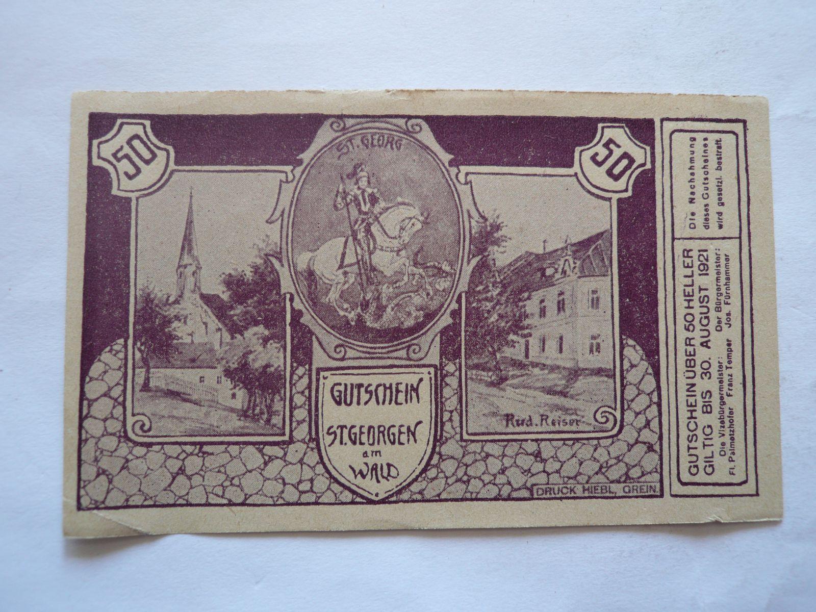50 Heller, nouzovka, 1921, Rakousko