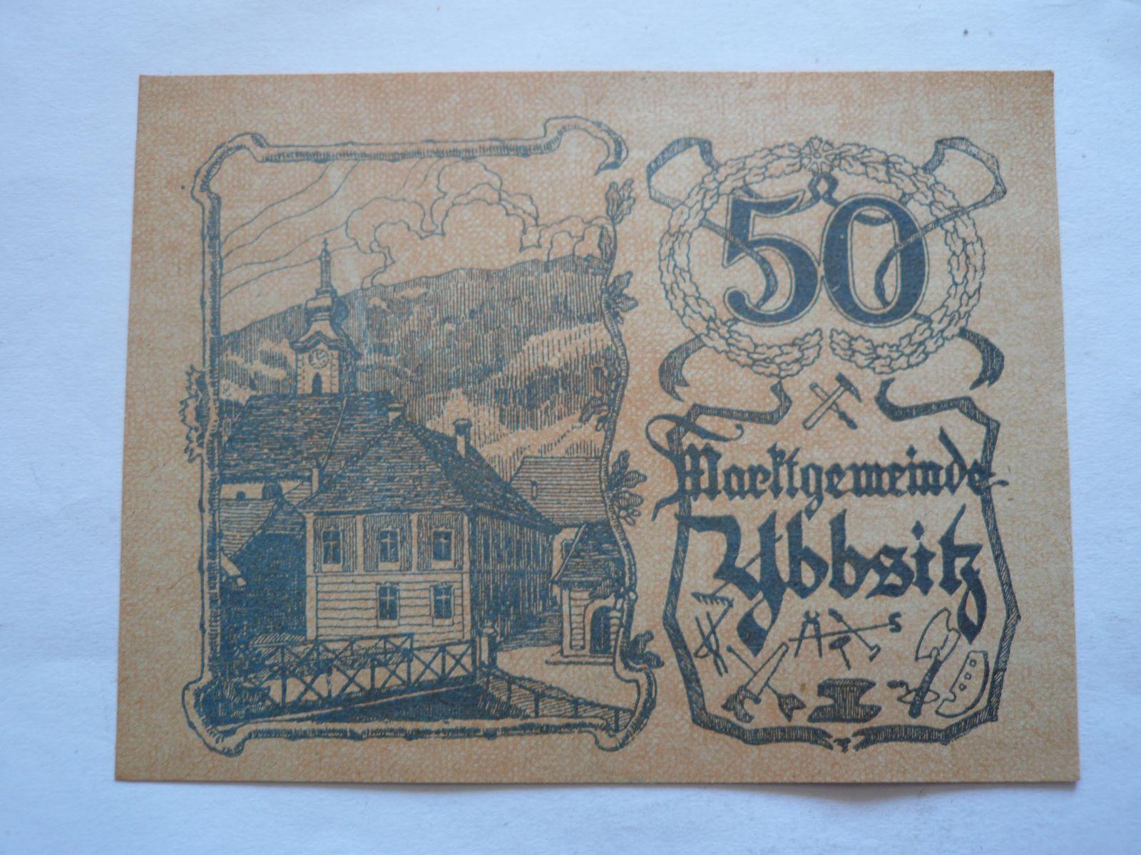 50 Heller, nouzovka, 1921 Rakousko