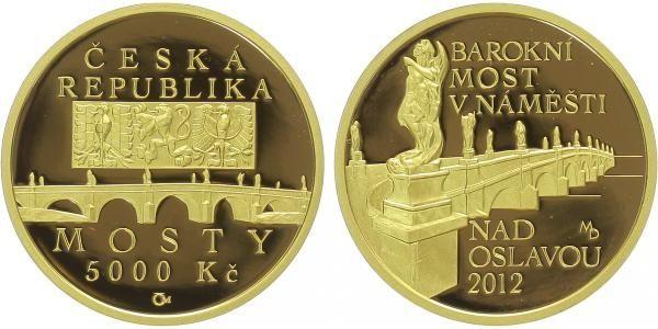 5000 Kč(2012-Barokní most v Náměšti nad Oslavou ), stav PROOF, etue, certifikát