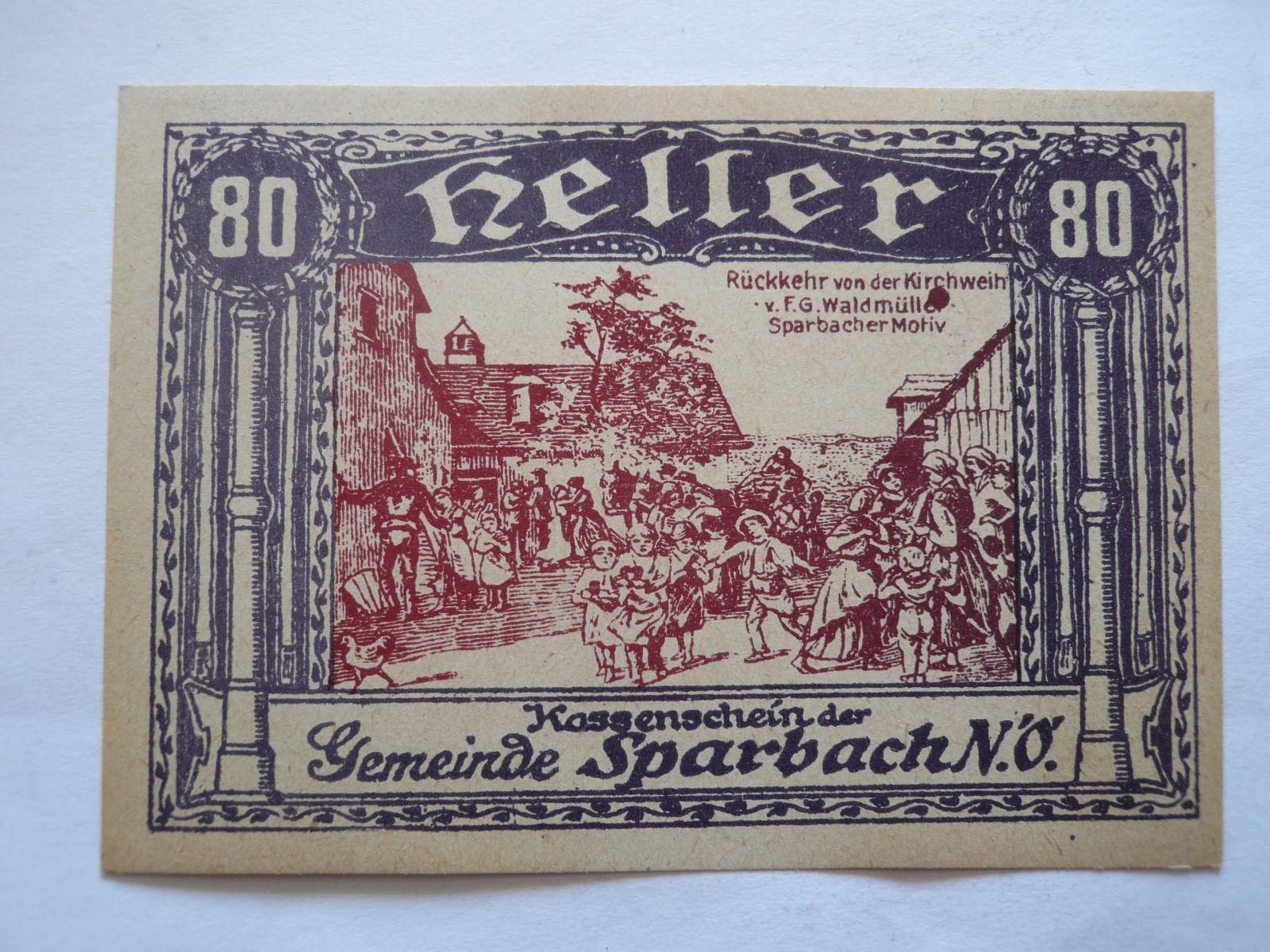 80 Heller, nouzovka, 1921, Rakousko