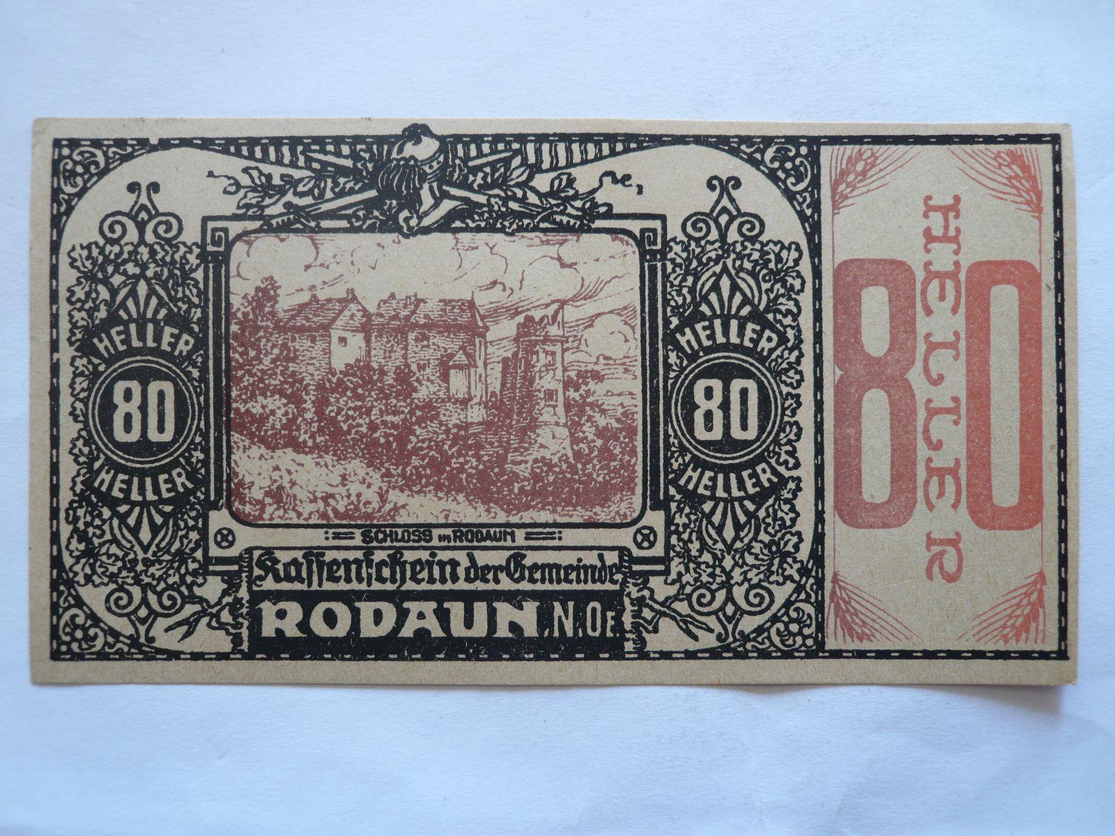 80 Heller, nouzovka, (Rodaren) Rakousko