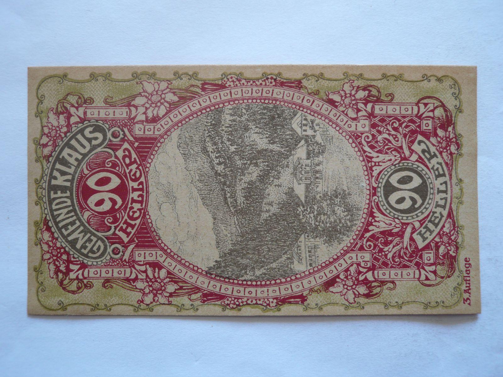 90 Heller, 1920, nouzovka, Rakousko