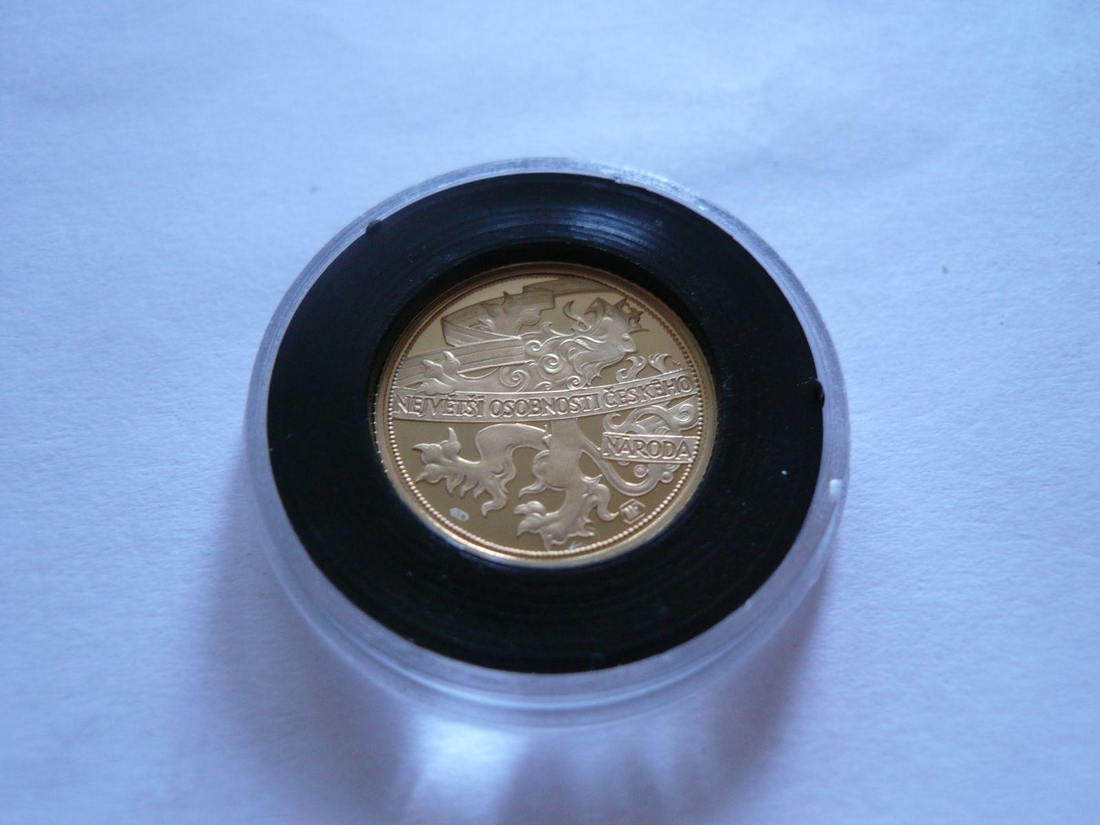 Au medaile František Palacký, bez letopočtu, průměr 8mm, Au 585, 2,05g, ČR