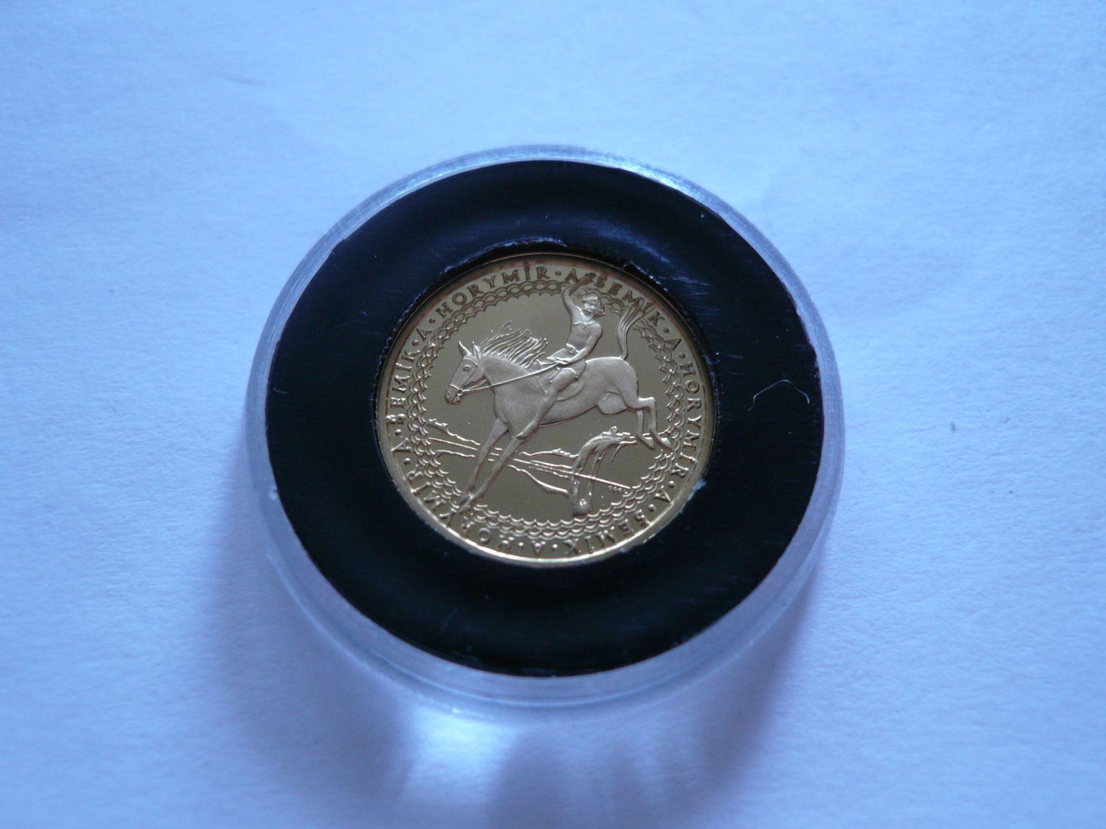 Au medaile Horymír, průměr 18mm, Au 585, 2,05g, ČR