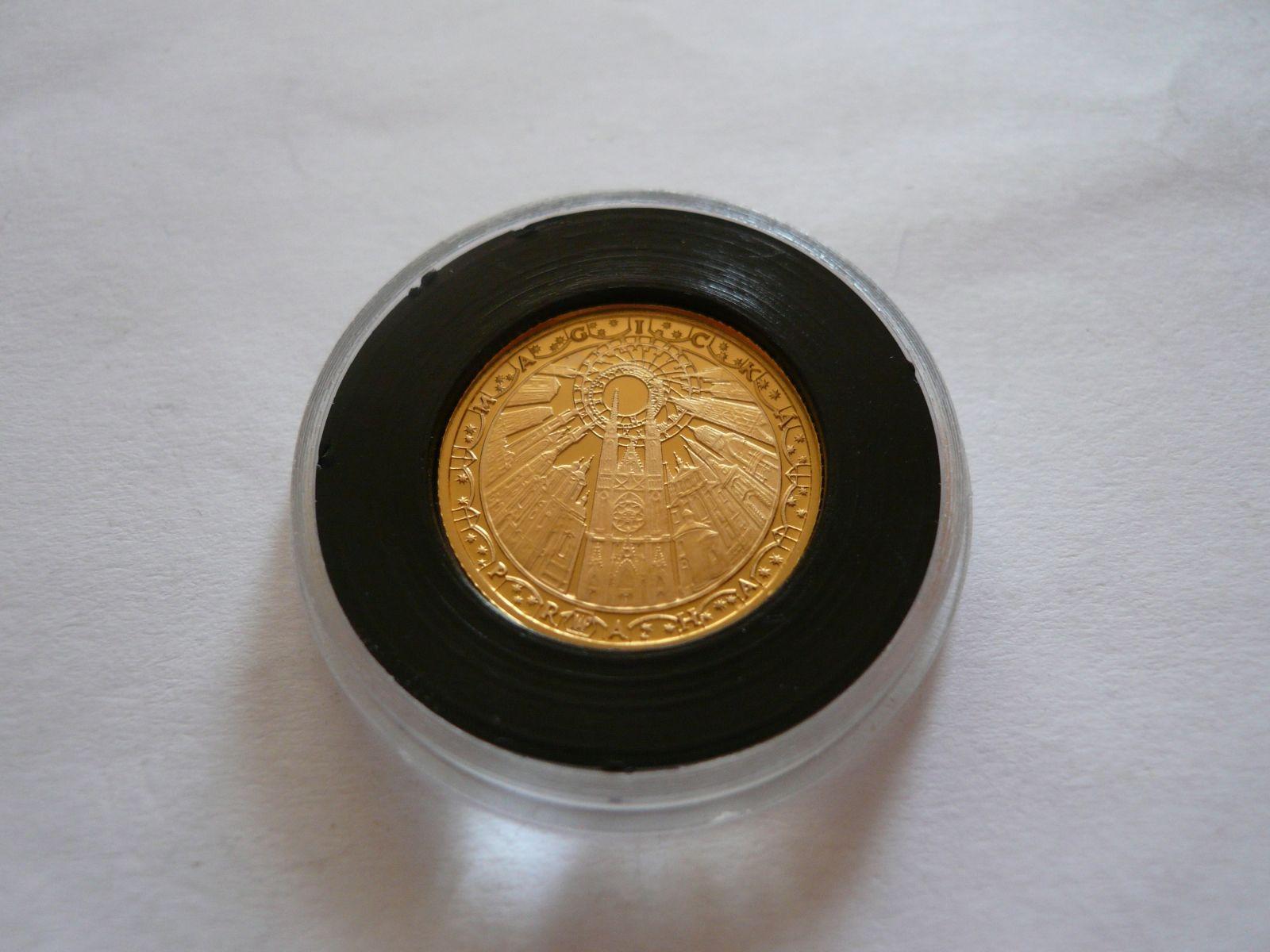 Au medaile Karlův most, bez letopočtu, průměr 18 mm, au 585, 2,05g, ČR
