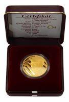 """Medaile """"Návštěva Baracka Obamy v ČR""""(2009-Au 999-15,56g), stav PROOF, etue a certifikát"""