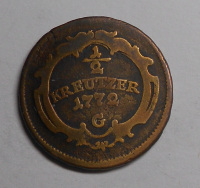 Rakousko – Günzburg 1/2 Krejcar 1772 G Marie Terezie