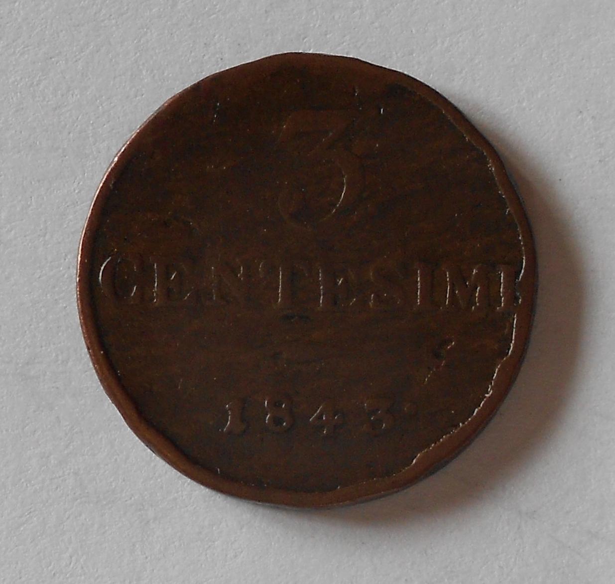 Rakousko 3 Centesimi 1843 M Ferdinand V.